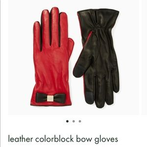 NWT! Kate Spade Leather Colorblock Bow Gloves